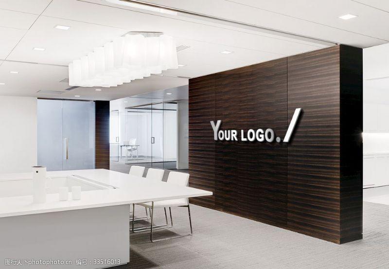 设计LOGO形象墙办公室场景贴图样