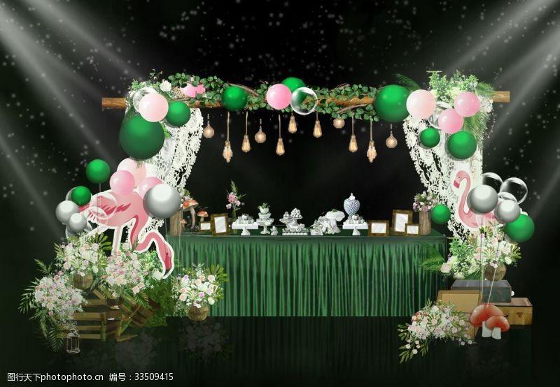 寶寶宴甜品臺綠色