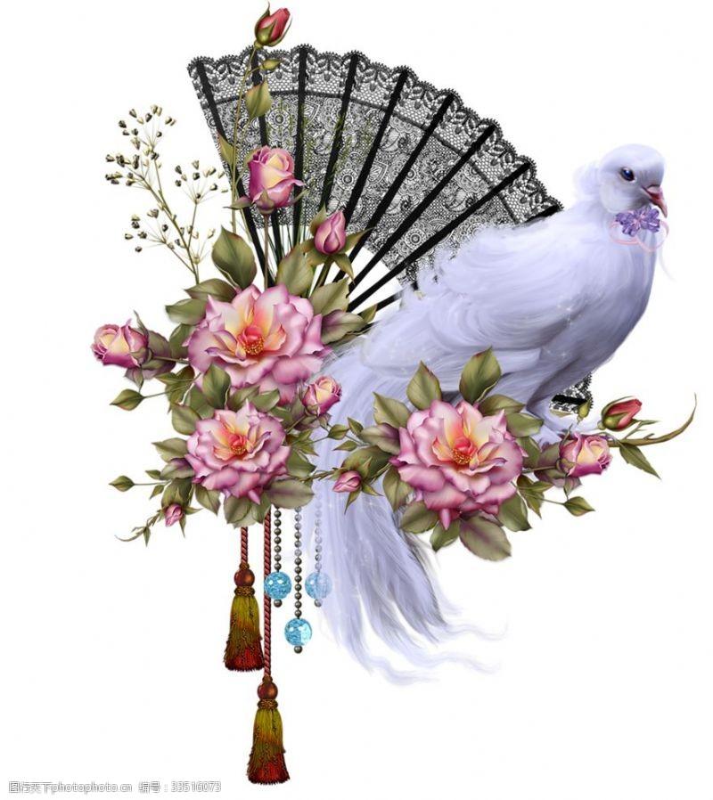 设计绝美手绘鲜花花束超清透明PNG