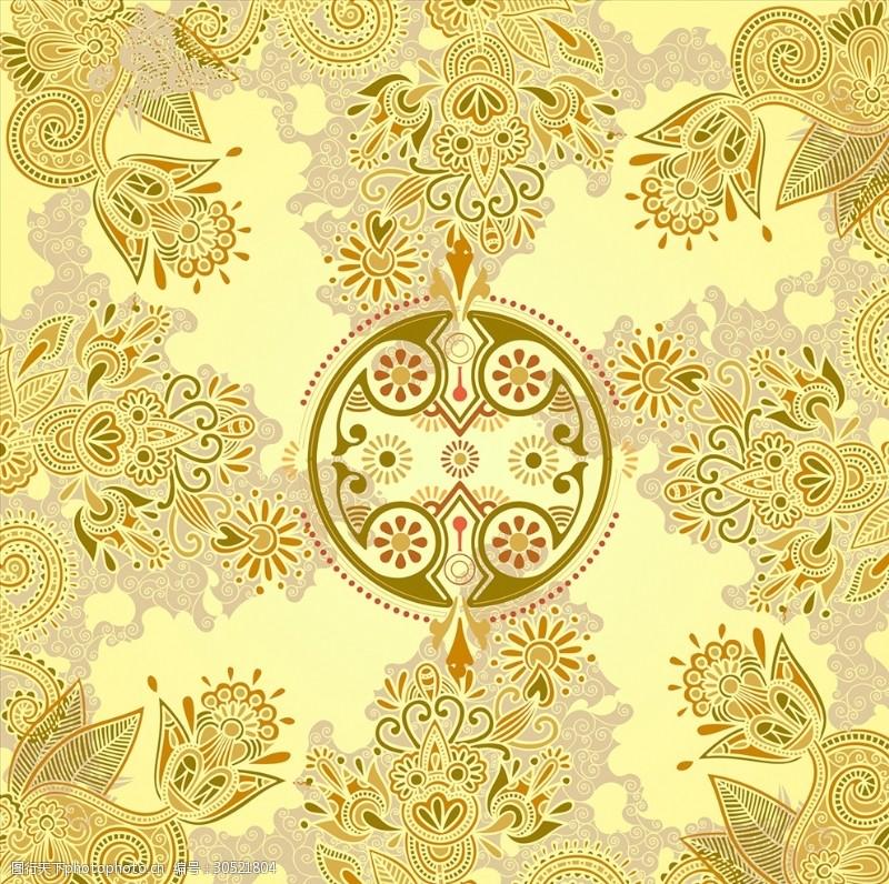 背心图案金色花纹