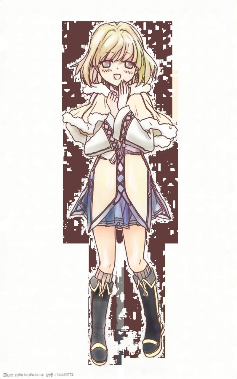 实用卡通穿着温暖的魔法少女日系赛璐璐插画