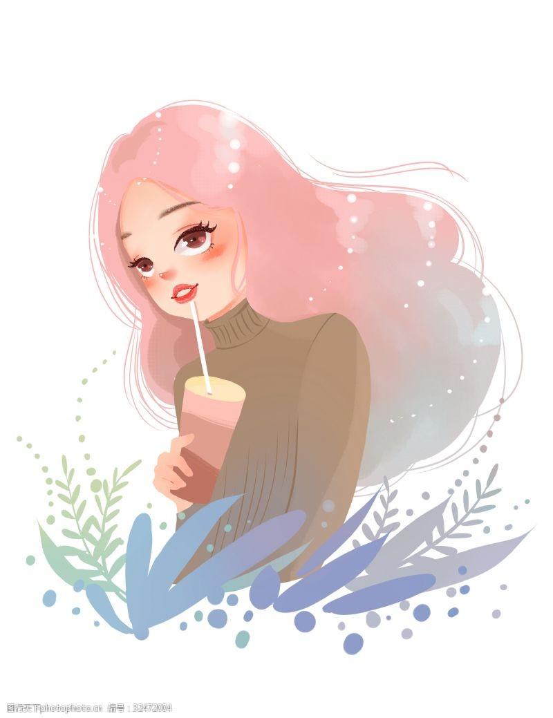 都市风冬季插画穿毛衣喝奶茶的女孩