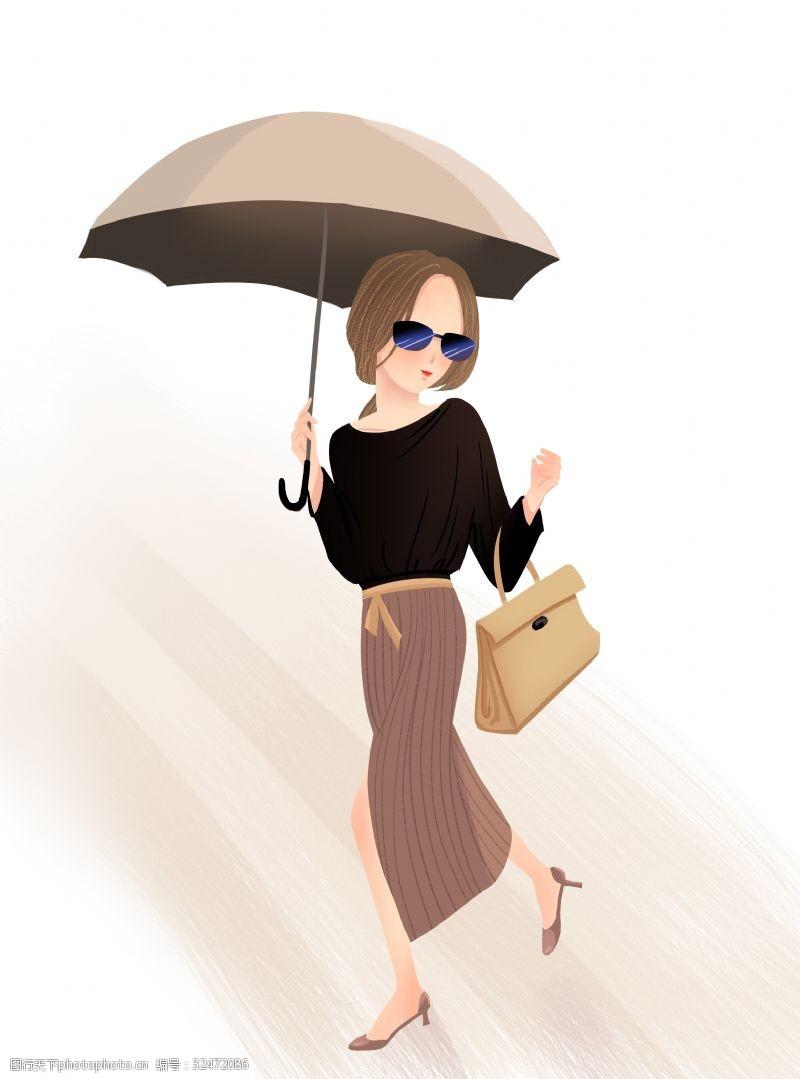 手绘都市风美女白领购物打伞
