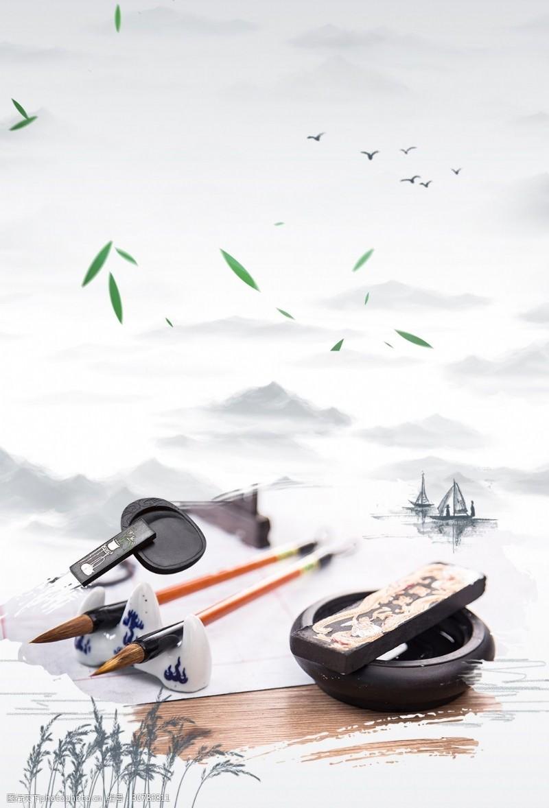 古典茶道中国风古典水墨背景
