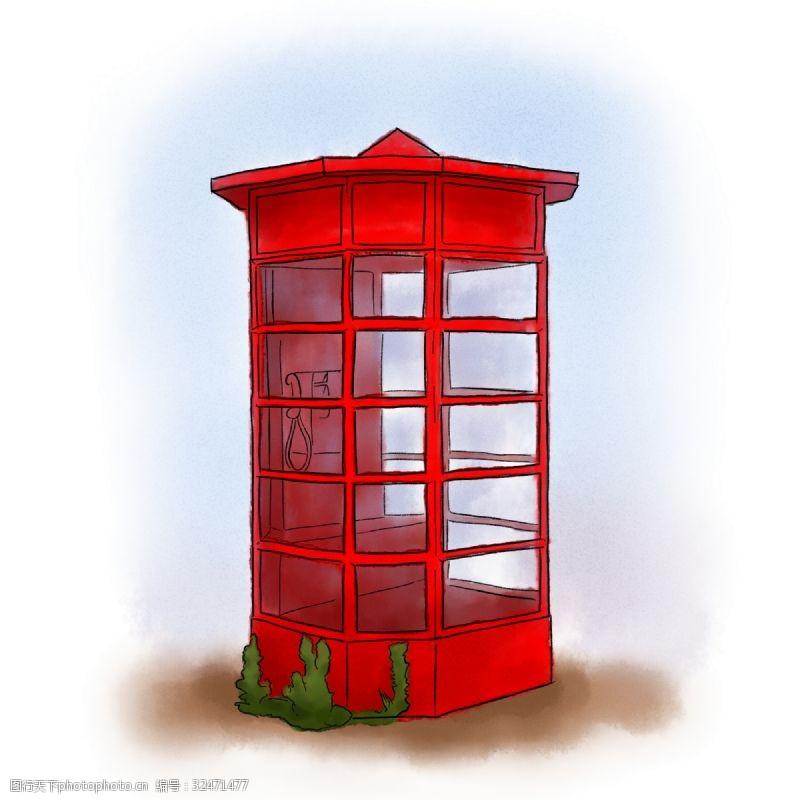 手绘水彩红色复古电话亭