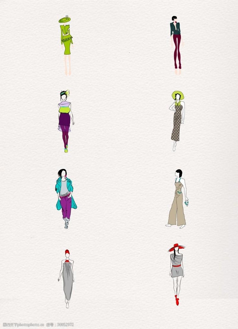 手绘服装设计卡通服装模特矢量元素