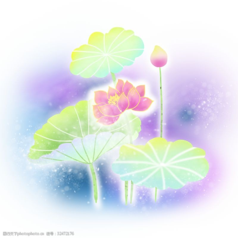 梦幻荷花卡通手绘梦幻植物荷花