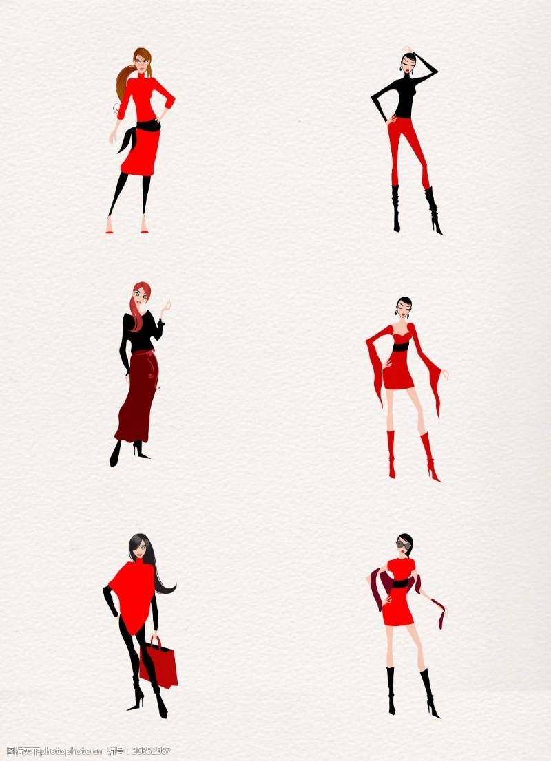 手绘服装设计图纸矢量ai元素