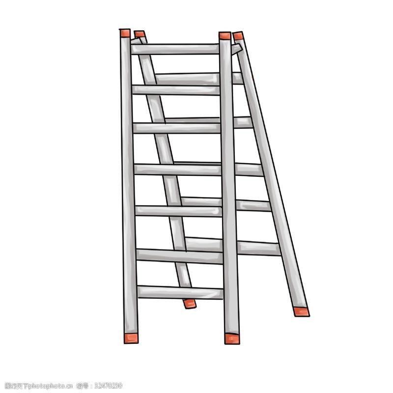 卡通梯子手绘卡通消防人员和消防器材梯子