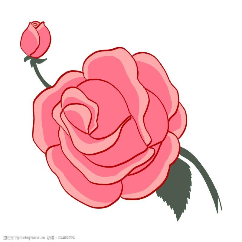 卡通玫瑰花手绘一枝玫瑰花插画