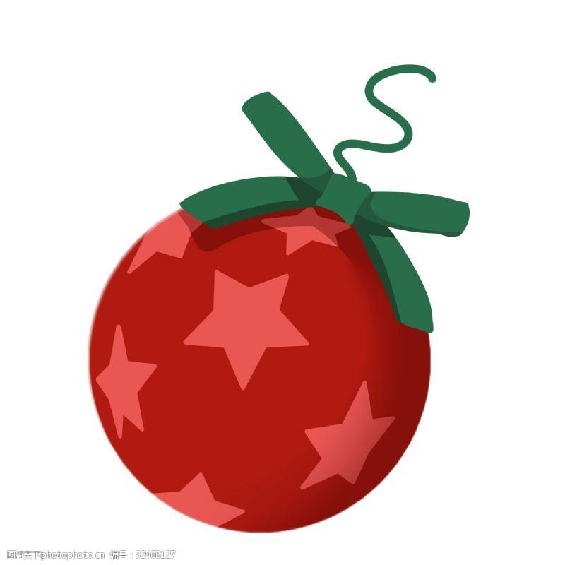 红球红色的圆球挂饰插画