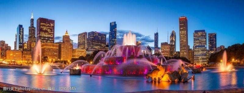 芝加哥夜景白金汉喷泉