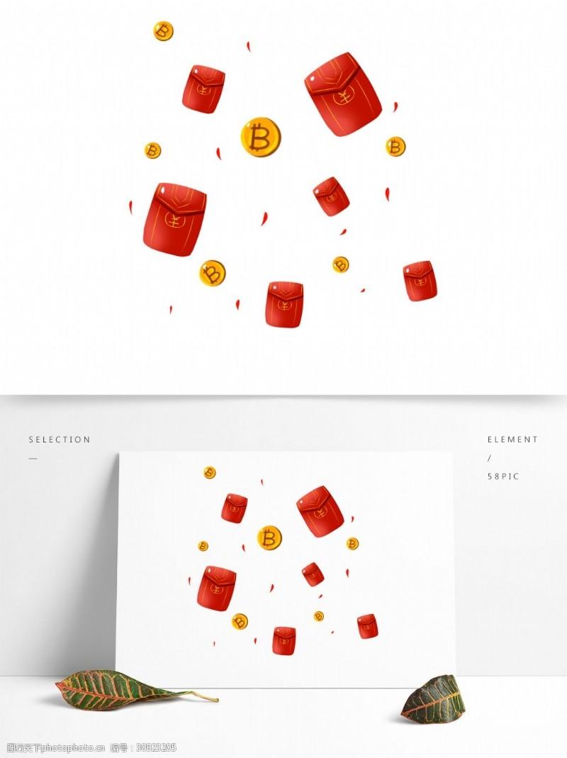 商用红包商用手绘漂浮理财红包比特币元素