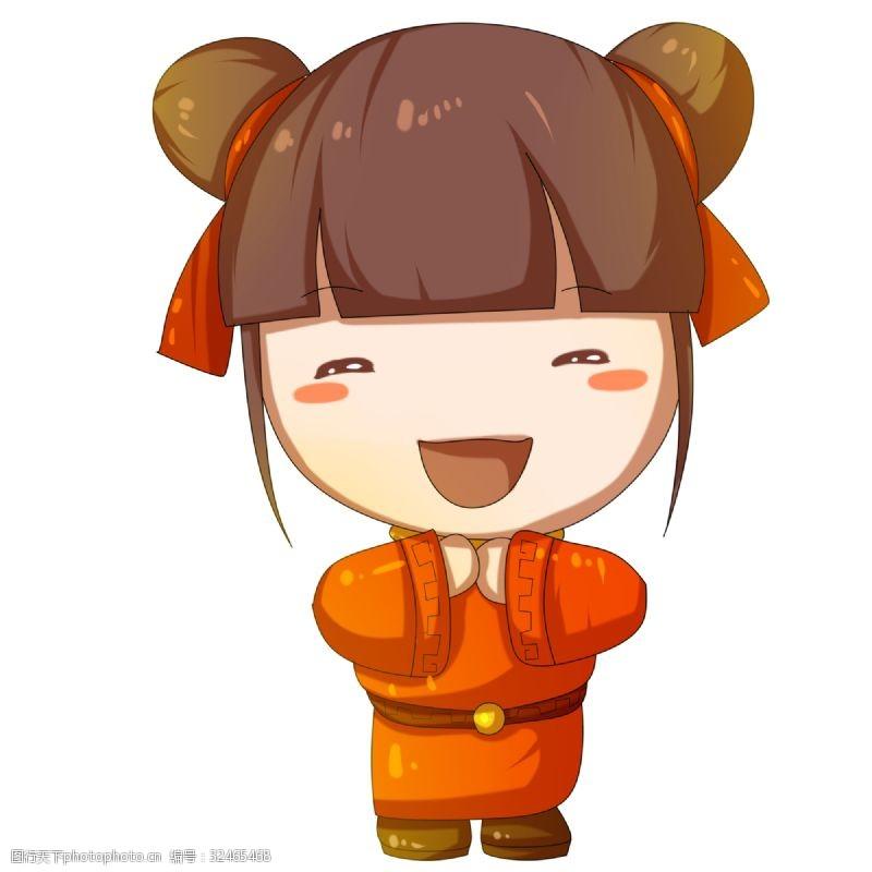 欢庆节日卡通可爱年画女孩