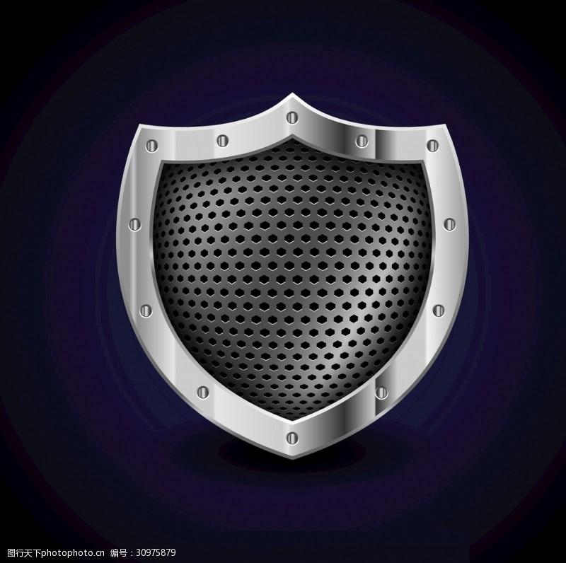 防护与保护金属盾牌徽章