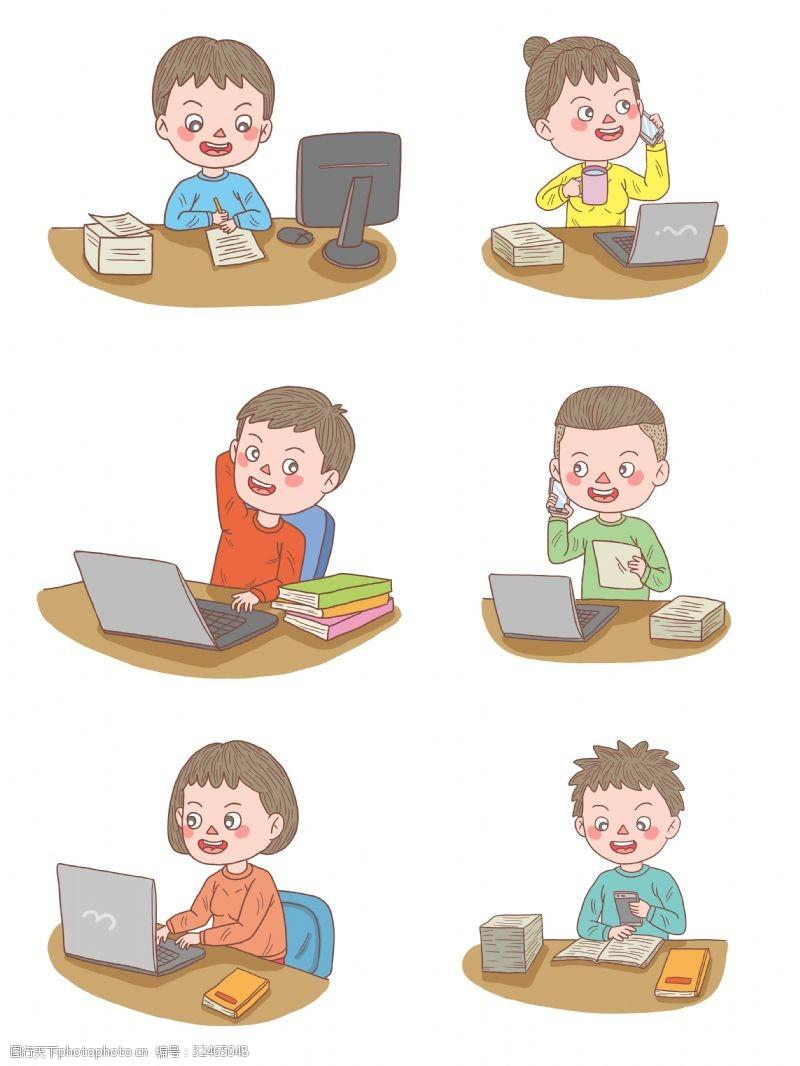 公司职员卡通手绘人物工作中文员系列