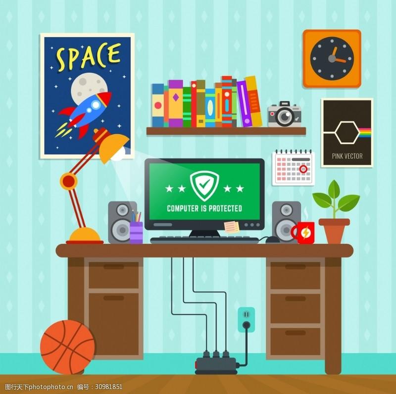 工作空间网络盾牌背景