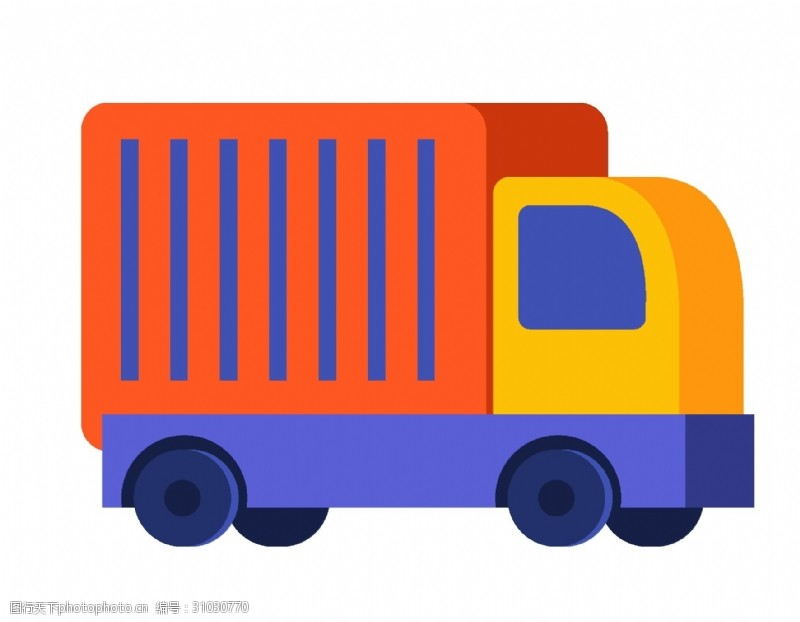 手绘货车卡通几何货车元素