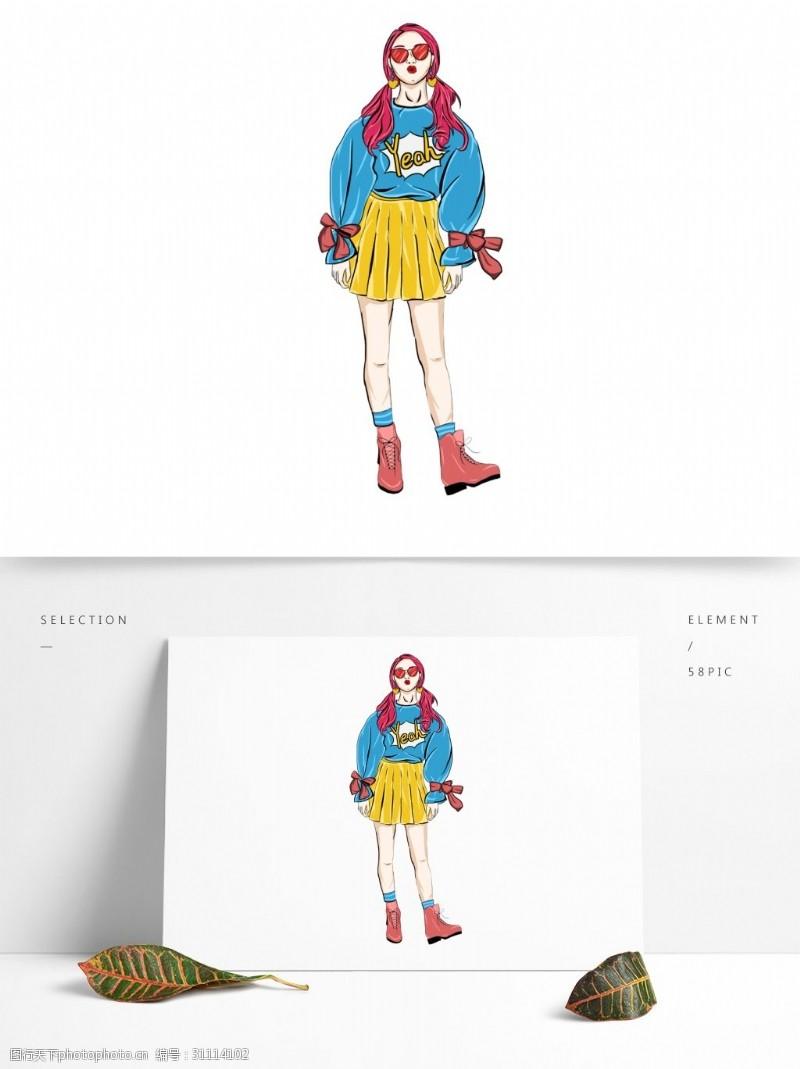 潮流墨镜彩绘涂鸦风带着墨镜的女孩人物