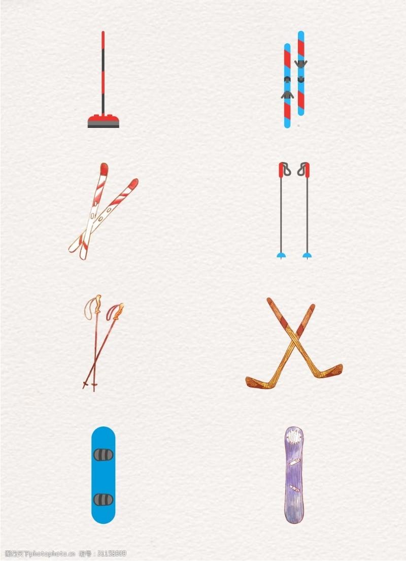 滑雪板冬季运动卡通手绘8组冬季滑雪装备设计
