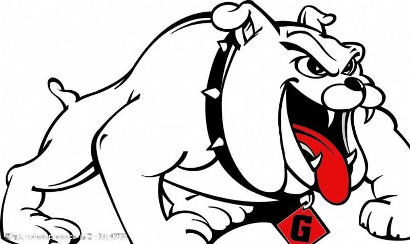 黑白红凶恶的狗