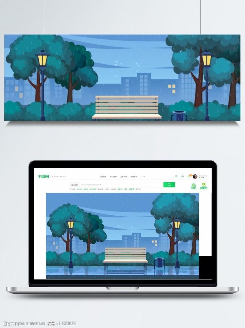 交通安全广告手绘树林城市安全出行背景素材