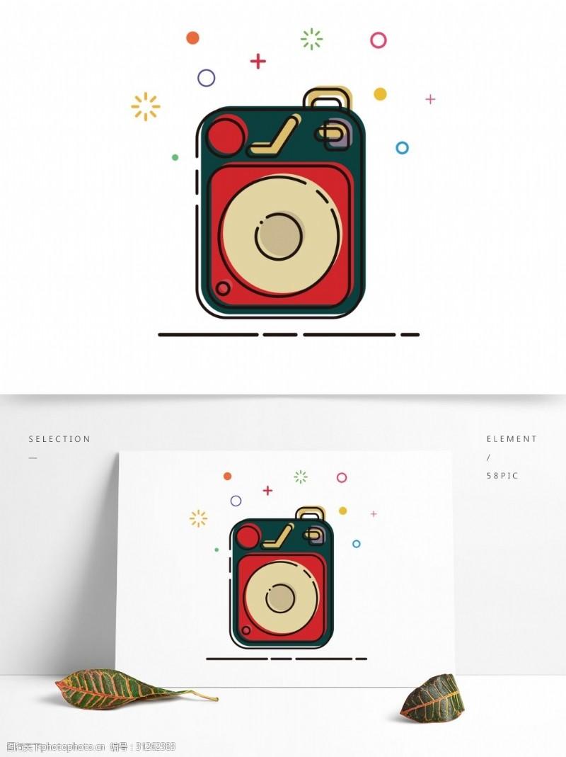MBE插画风格复古红绿色卡通音箱装饰素材