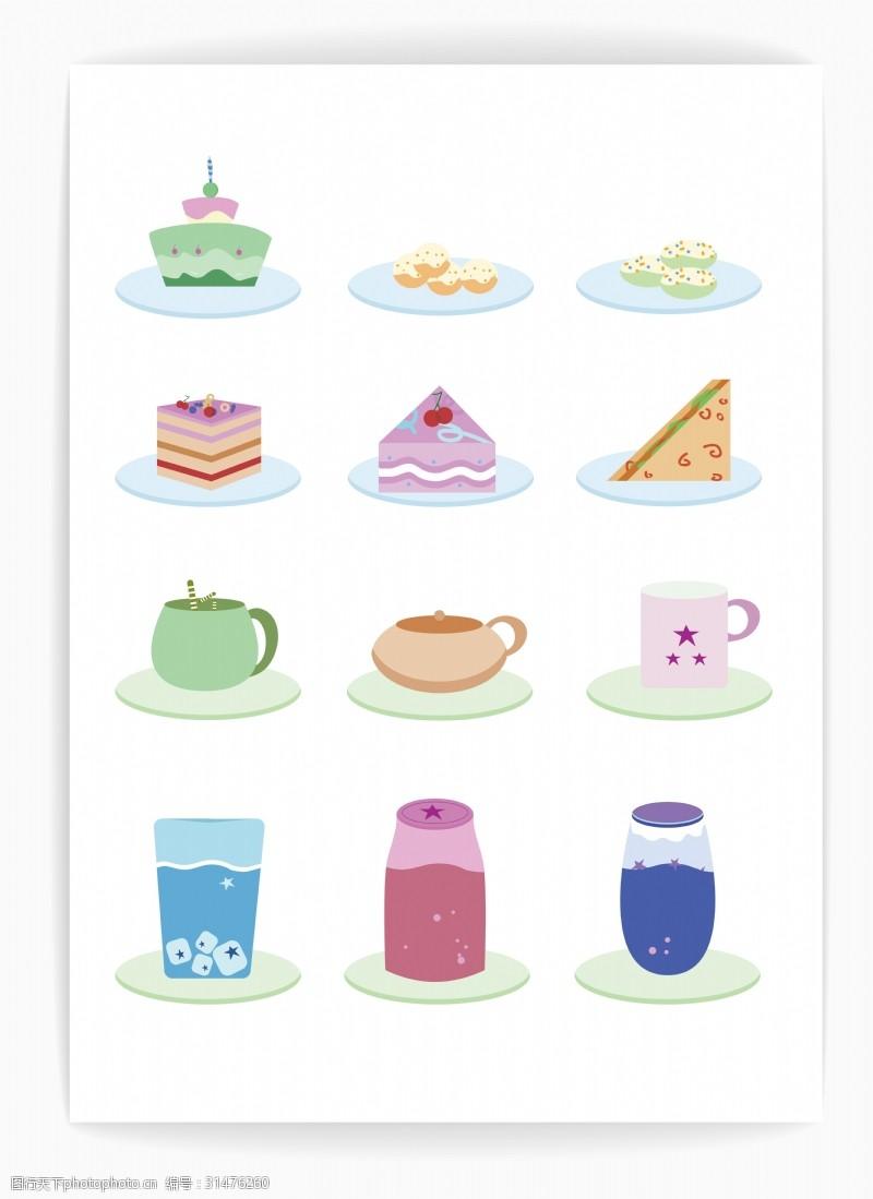 糕点卡片原创精美色彩蛋糕茶点糕点插画矢量