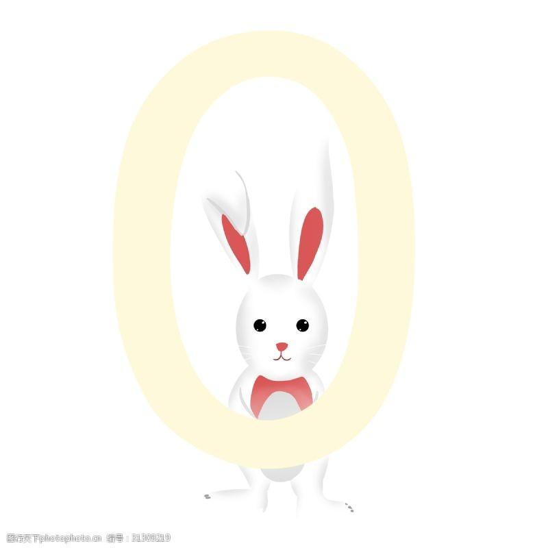可爱卡通兔卡通带黄色圆环的白色可爱兔子