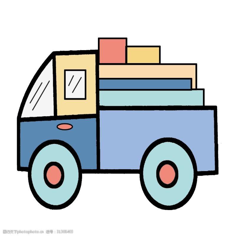 手绘货车手绘蓝色货车插画