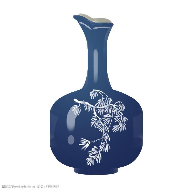 彩釉手绘深蓝色瓷瓶插画