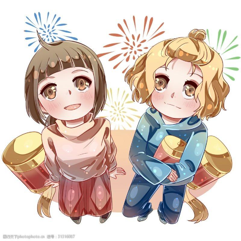 青梅竹马新年观看焰火的女孩
