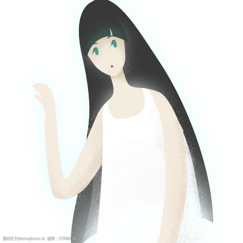 抬手一个披着长发的卡通美女