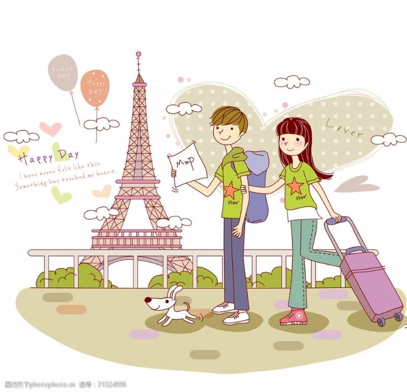 铁塔封面巴黎旅行情侣