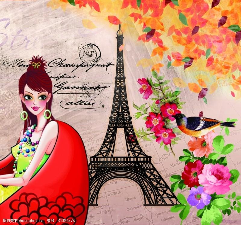 铁塔封面美女铁塔复古插画