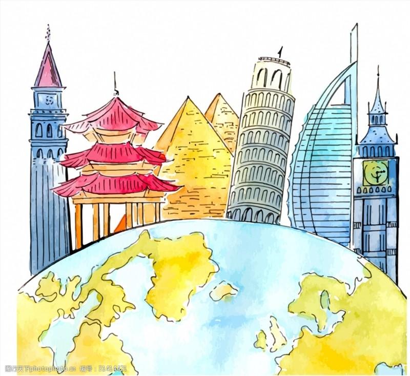 彩绘地球和世界著名建筑矢量图