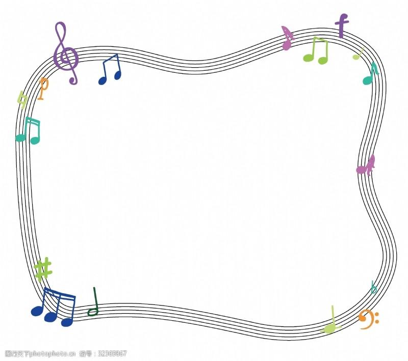休止符可爱五彩糖果色手绘音符五线谱边框