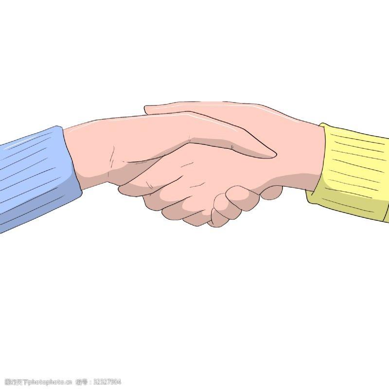 手绘两只手握手插画