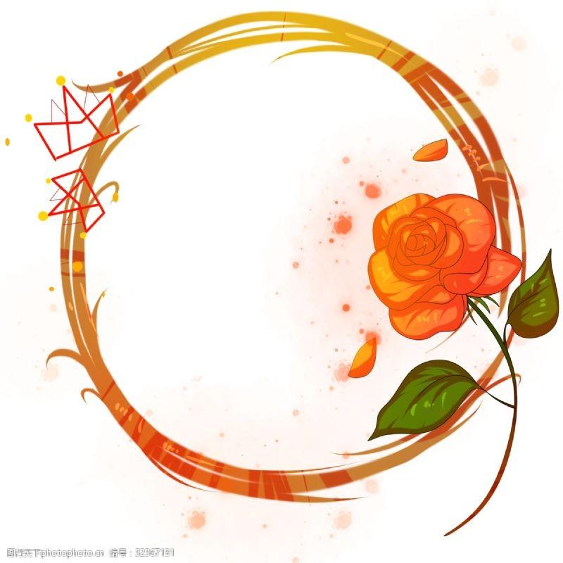 卡通玫瑰花女王节玫瑰花边框插画
