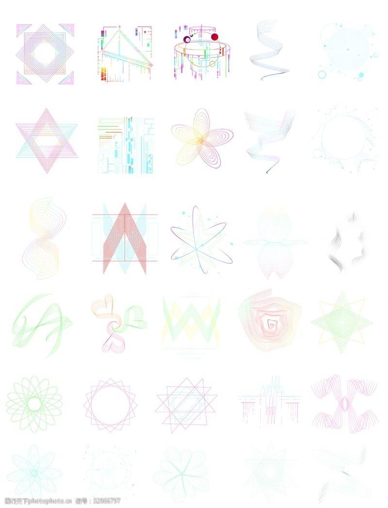张力线条不规则图形多边形合集