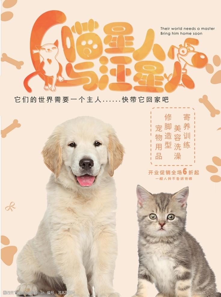 宠物店新店开业宣传海报