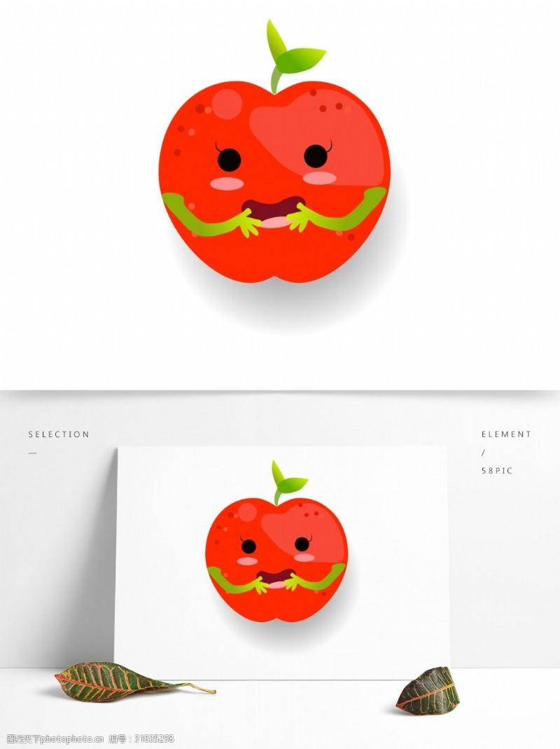 水果小人小清新可爱水果卡通形象苹果小人矢量素材