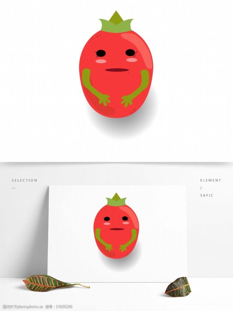 水果小人小清新可爱水果卡通形象圣女果小人矢量素材