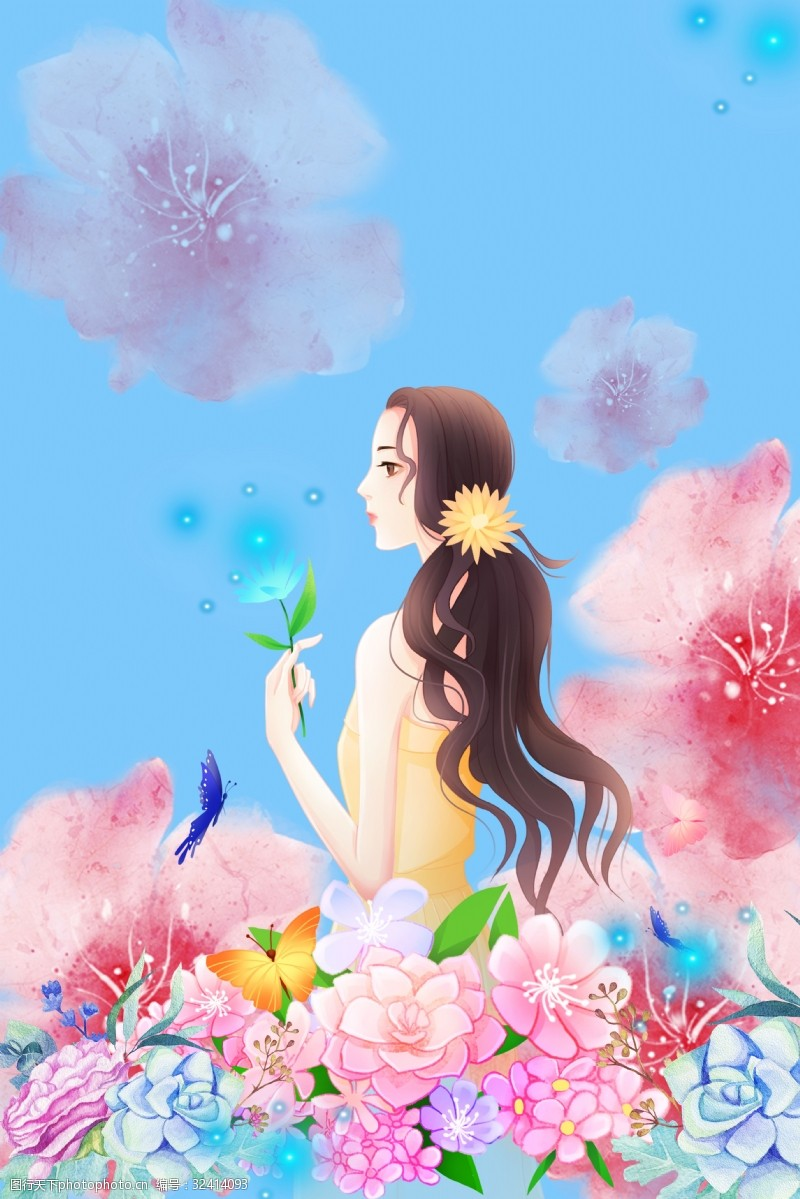 鲜花女孩唯美鲜花和女孩电商淘宝背景H5