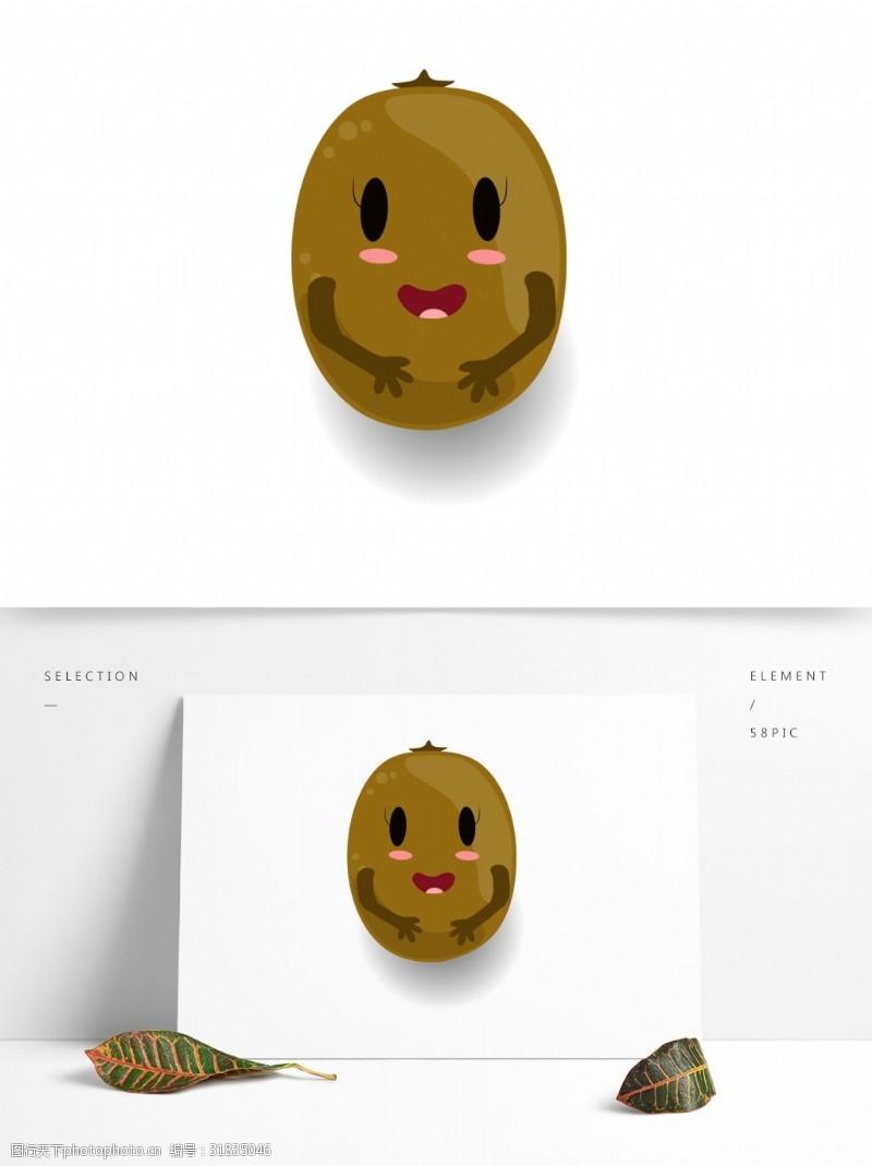 水果小人小清新可爱水果卡通形象猕猴桃小人矢量素材