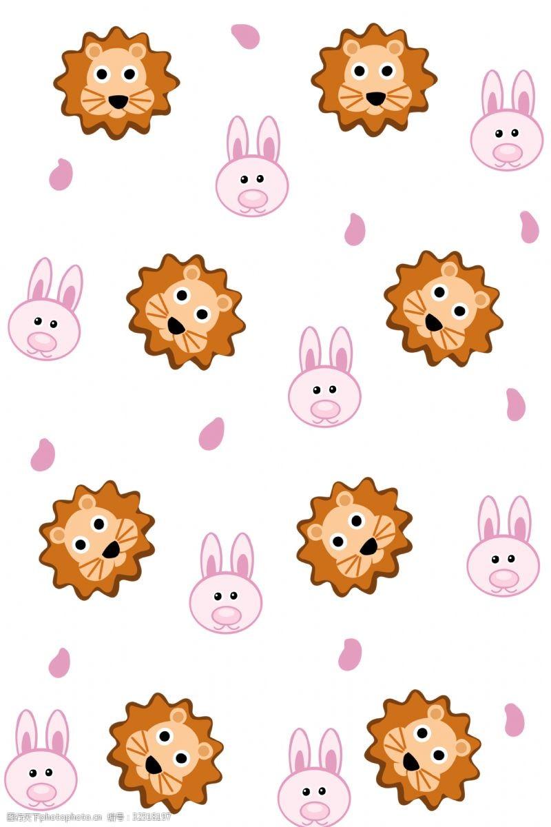 兔子底纹手绘兔子狮子头底纹