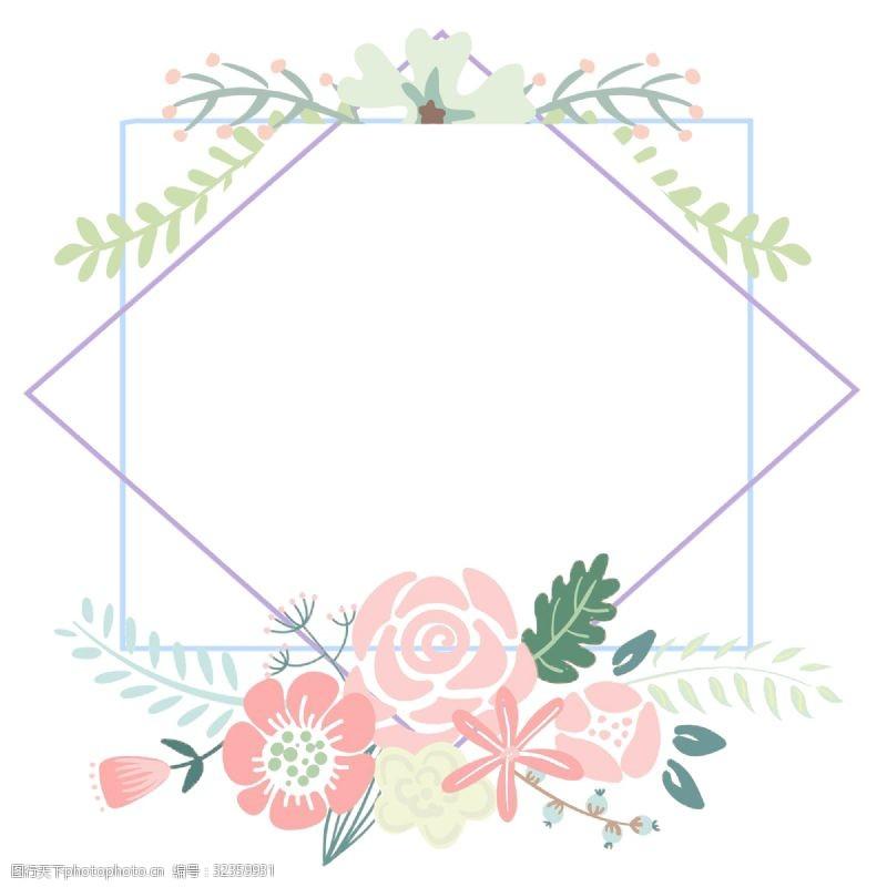 相框展示卡通手绘粉色三八妇女节插画玫瑰