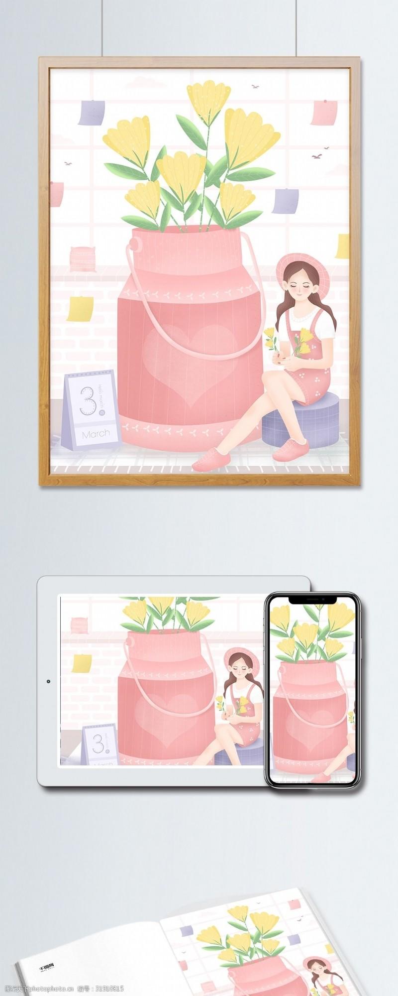 鲜花女孩原创小清新三月你好女孩与花束月签插画