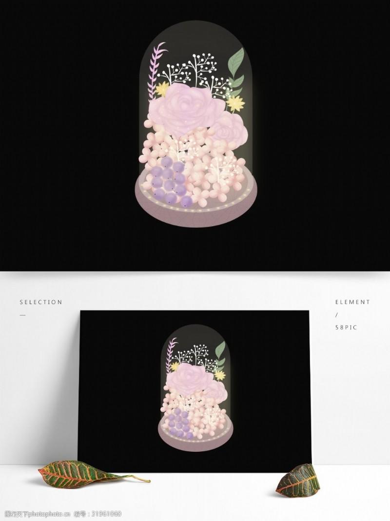 玫瑰花干花原创情人节粉色玫瑰花玻璃罩干花