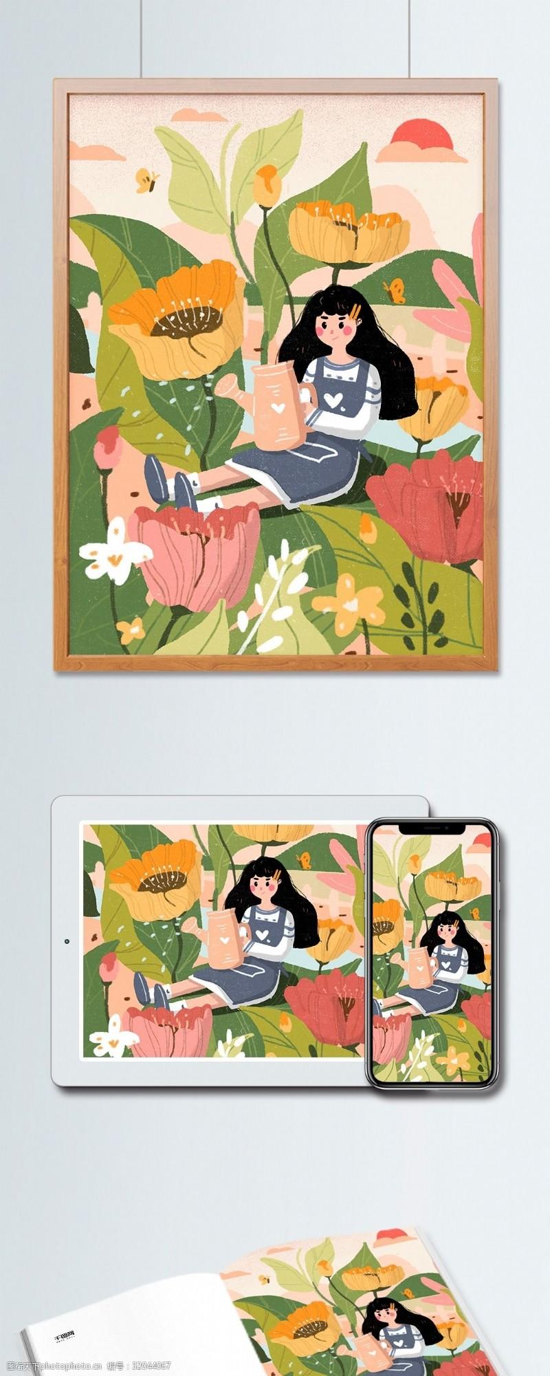 鲜花女孩绿色植树节清新花朵环保插画